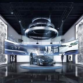 現代風格汽車展廳3D模型【ID:943049793】
