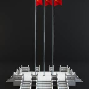 现代红旗升旗台3D模型【ID:935470960】