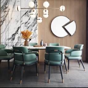 现代轻奢餐桌椅组合3D模型【ID:735949184】