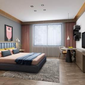 现代卧室床组合 3D模型【ID:541414267】