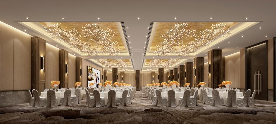 新中式酒店宴會廳3D模型【ID:745939226】
