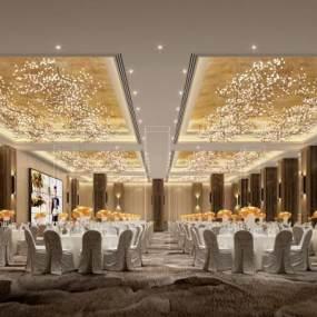 新中式酒店宴会厅3D模型【ID:745939226】