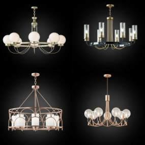 現代輕奢吊燈組合3D模型【ID:752358808】