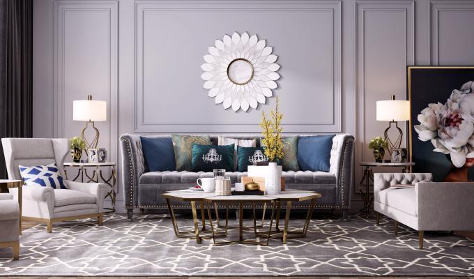 美式轻奢客厅 轻奢沙发茶几组合 装饰画