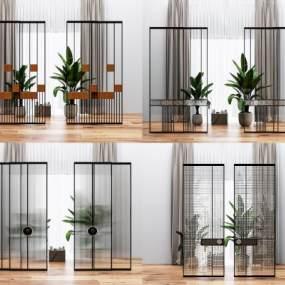 现代玻璃移门隔断组合3D模型【ID:349248143】