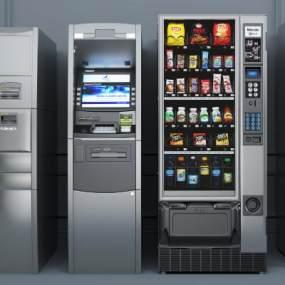 现代ATM取款机自动售货机组合3D模型【ID:431617535】