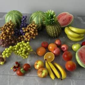 现代水果组合3D模型【ID:234916578】