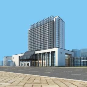 新中式酒店建筑3D模型【ID:131332965】