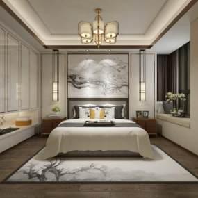 现代卧室3D模型【ID:534698205】