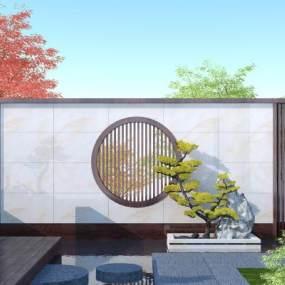 新中式景墙3D模型【ID:145669480】