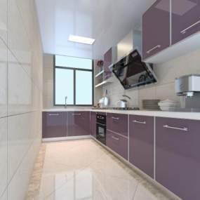 现代简约厨房3D模型【ID:534818331】