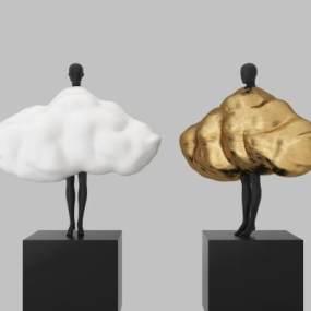 现代雕塑3D模型【ID:345933119】