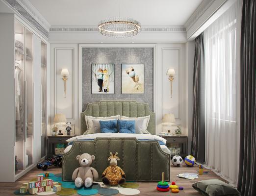 现代轻奢儿童房 装饰画 玩具 衣柜