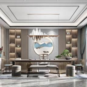 新中式書房茶室3D模型【ID:651008122】