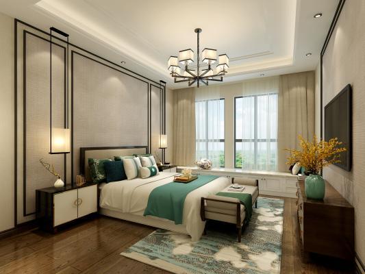 新中式卧室3D模型【ID:550980244】