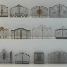 欧式铁艺院墙围墙景墙3D模型【ID:236269162】