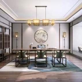 新↑中式茶室桌椅组合3D快三追号倍投计划表【ID:632159183】