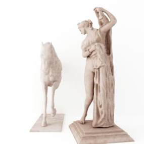 现代马儿与人雕塑摆件3D模型【ID:243387554】