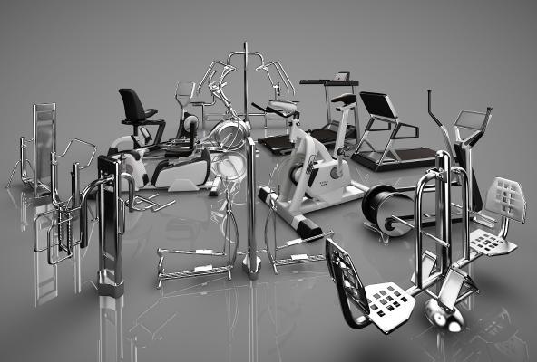 现代健身器材3D模型【ID:341842803】