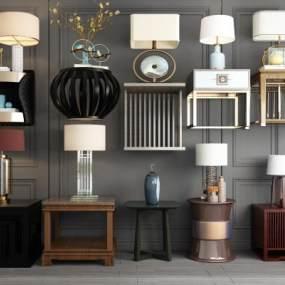 新中式沙发角几边几茶几台灯装饰品新中式床头柜 3D模型【ID:641542835】
