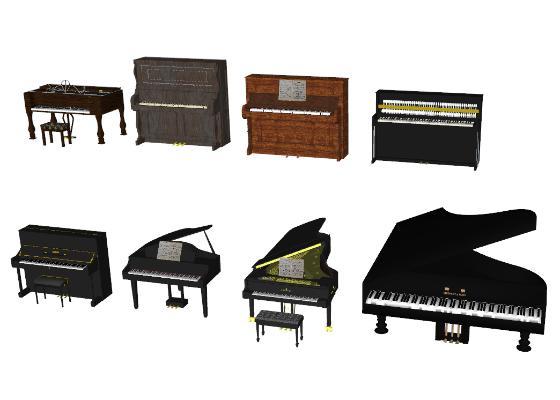 现代钢琴SU模型【ID:652113117】