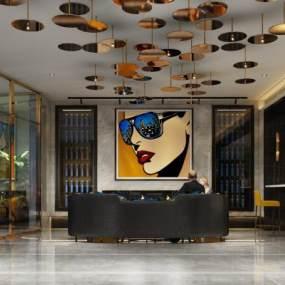 现代酒店大厅3D模型【ID:734503029】