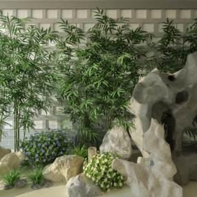现代假山竹子3D模型【ID:136230495】