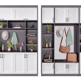 现代鞋柜装饰柜组合 3D模型【ID:141496275】