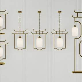 新中式燈具組合3D模型【ID:745799858】