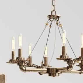 工业风旧铜水管吊灯3D模型【ID:732741801】