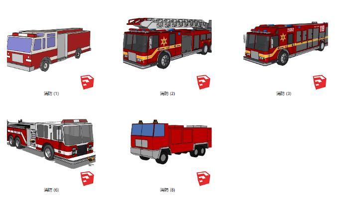现代消防车SU模型【ID:552122451】