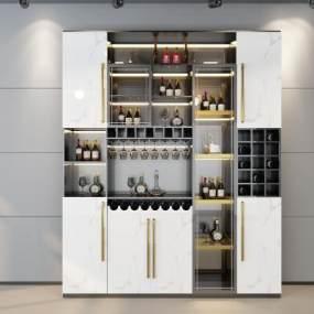 現代輕奢酒柜3D模型【ID:648852221】