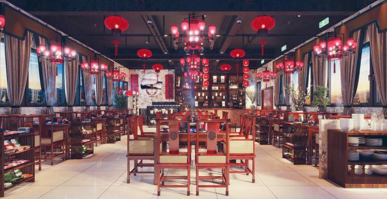 中式重庆火锅店餐厅3D模型【ID:648095525】