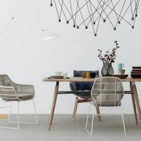 北欧餐桌椅3D模型【ID:836089872】
