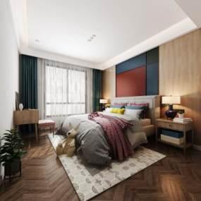现代卧室3D模型【ID:532143233】