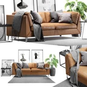 现代皮革双人沙发3D模型【ID:633504580】