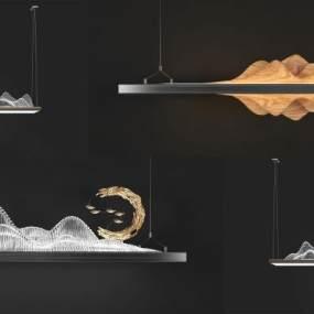 新中式山脉吊灯组合3D模型【ID:750404818】