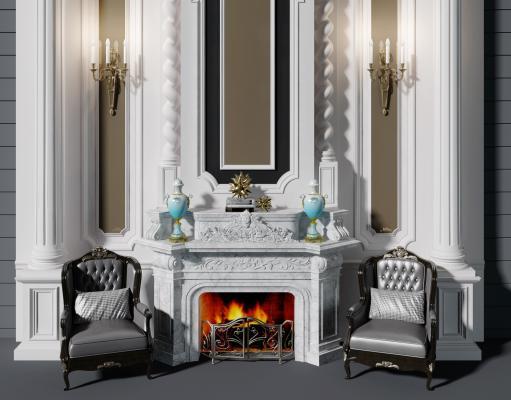 法式壁炉背景墙3D模型【ID:344236617】