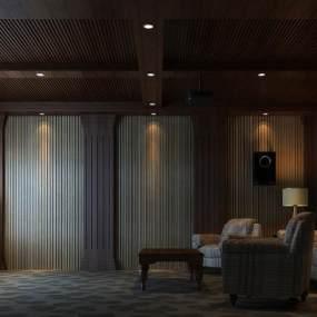 新中式影院室3D模型【ID:534792921】