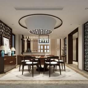 新中式餐厅 3D模型【ID:541430177】