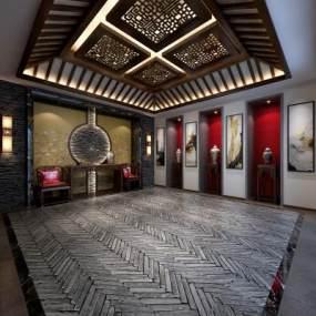 新中式酒店大堂3D模型【ID:734787045】