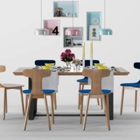 北欧餐桌椅组合3D模型【ID:852733838】