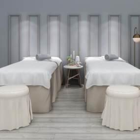 现代SPA美容床凳子组合3D模型【ID:834844605】