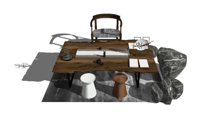 新中式风格椅子茶几组合SU模型【ID:652916525】