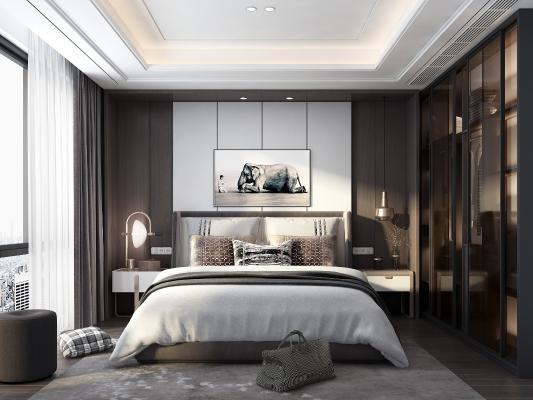 现代轻奢卧室3D模型【ID:544457273】