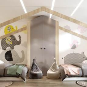 現代兒童房3D模型【ID:544000207】