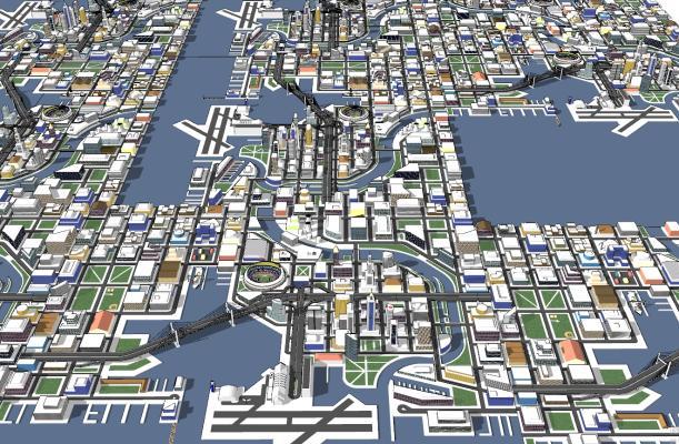 现代滨海城市建筑SU模型【ID:351683284】