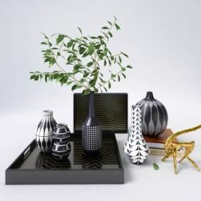 现代花纹花瓶摆设摆件装饰品3D模型【ID:250874545】