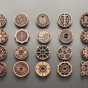 中式圆形传统图案镂花组合3D模型【ID:331765371】