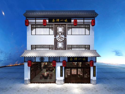 中式茶楼门头展厅3D模型【ID:642371639】
